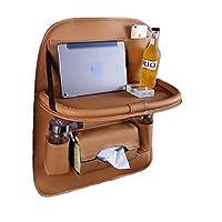Tire Inflator Pcs PU Leather Car Back Seat Organizer Tablet Holder Folding Table Multi-Pocke