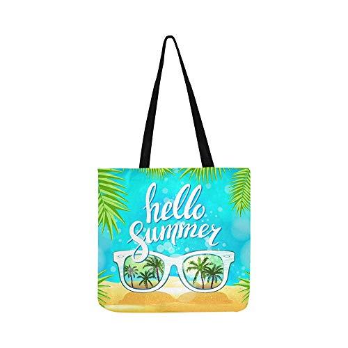 Weiße Sonnenbrille Reflexion Sonnenuntergang Palm Tree Canvas Tote Handtasche Schultertasche Crossbody Taschen Geldbörsen für Männer und Frauen Einkaufstasche