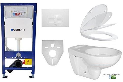 Geberit Duofix Basic UP 100 WC-Vorwandelement WC SET mit Platte Delta 50 weiß, Schallschutzset, Wand WC Keramik mit Lotus-Biotech-Beschichtung ASLEP01B und WC-Sitz Absenkautomatik