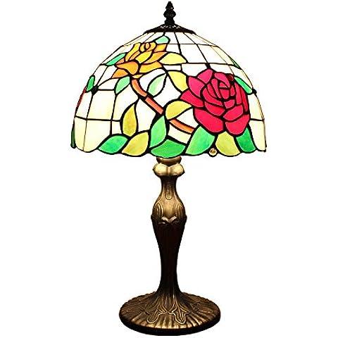 AIFUDE moderna minimalista Pastoral Flower Rose de 12 pulgadas Tiffany Lámpara de mesa Vidriera lámpara de