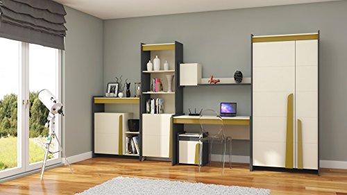 Teen Schreibtisch Orange (furniture24-eu Wohnwand Teen Kleiderschrank, Schreibtisch, Regal, Kommode. (Curry))