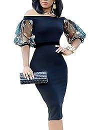 ee4203bc6d3d MYWY Abito donna vestito elegante spalle scoperte maniche corte velate  dettaglio floreale tubino midi