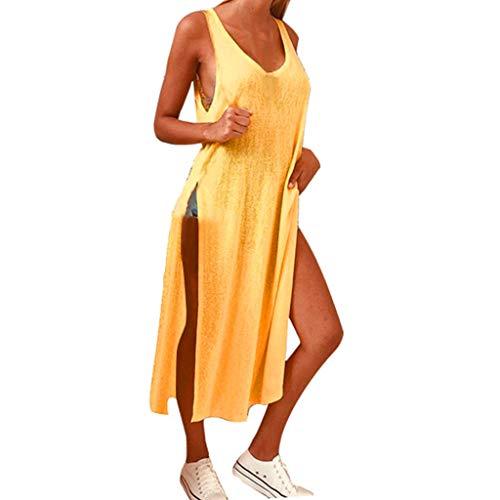T-Shirtkleid für Damen/Dorical Frauen A-Linie Rundhals Midikleid Sommerkleid Ärmellos Longshirt mit Schlitz Tanktops Strandkleider Casual Loose Vestkleid Sportkleid(Gelb,XX-Large) (Web-träne)