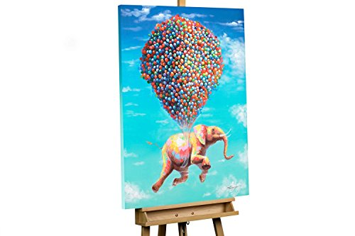 KunstLoft® Acryl Gemälde 'Fliegengewicht' 70x100cm   original handgemalte Leinwand Bilder XXL   Elefant Ballon fliegen Bunt Luft   Wandbild Acrylbild moderne Kunst einteilig mit Rahmen