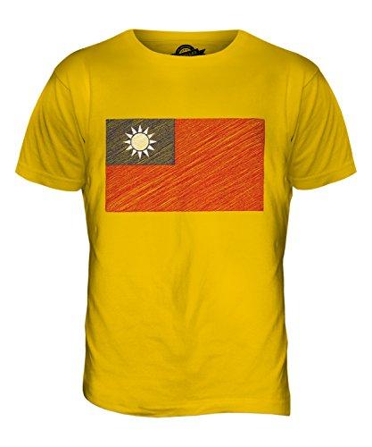 CandyMix Republik China Taiwan Kritzelte Flagge Herren T Shirt Dunkelgelb