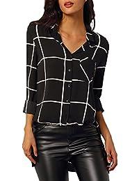 79eac71122 Mujer Camisas a Cuadros Top Blusa de Moda de Manga Larga Casual Camisetas  Negro XL