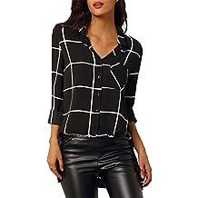 Mujer Camisas a Cuadros Top Blusa de Moda de Manga Larga Casual Camisetas Negro XL