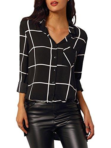 MISSMAO Mujer Camisas a Cuadros Top Blusa de Moda de Manga Larga Casual Camisetas Negro S