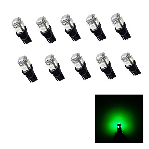 PA 10 x T10 194 168 LED WEDGE 5 SMD 5050 LED Voiture côté ampoule de signal 12 V courant fixe Version (Vert)