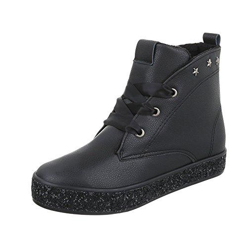 Ital-Design Schnürstiefeletten Damen-Schuhe Klassischer Stiefel Keilabsatz/Wedge Schnürer Schnürsenkel Stiefeletten Schwarz, Gr 36, ()