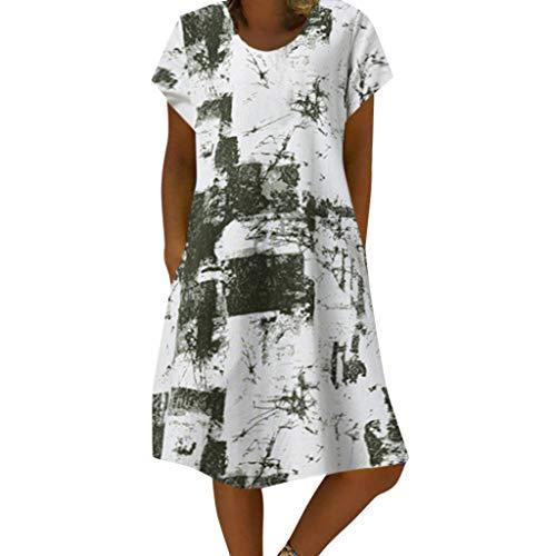 Rosennie Sommerkleid Damenkleider Vintage Retro Leinen Kleid Frauen Rundhals Loose Kurzarm Kleid...