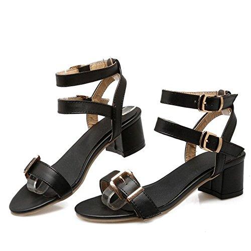 TAOFFEN Damen Sommer Mode Niedrig Blockabsatz Slingback Sandalen mit Schnalle Schwarz