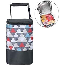 Isolé Sac à biberon portable Sac d'isolation - Grand Sac isolé pour le stockage du lait maternel Sac isotherme polyvalent pour biberons (taille: 15 * 15 * 22cm) (Triangle coloré)