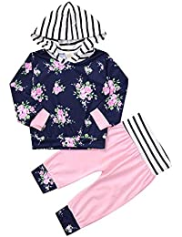 ☀☀Conjuntos De Ropa para Bebés Niña,Recién Nacido Niñas Manga Larga con Capucha Floral Tops + Pantalones Trajes Ropa Conjunto