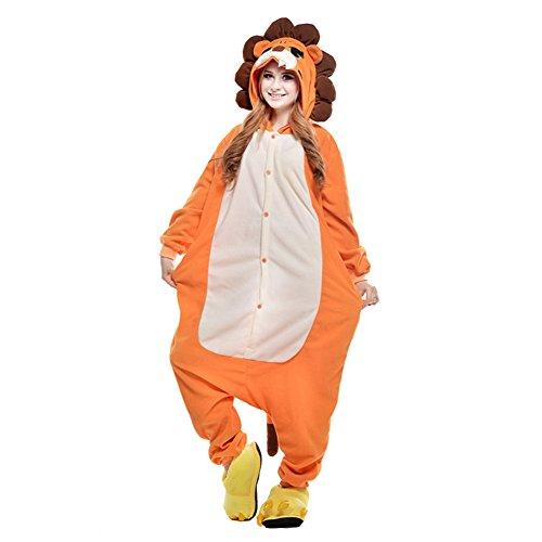 Löwe Einfach Kostüm Erwachsene Für - LPATTERN Unisex-Erwachsene Cosplay Pyjamas Onesie  Tier Kostüm Schlafanzug Jumpsuit für Halloween Karneval, Löwe, Medium (Korpergröße 160-169CM)