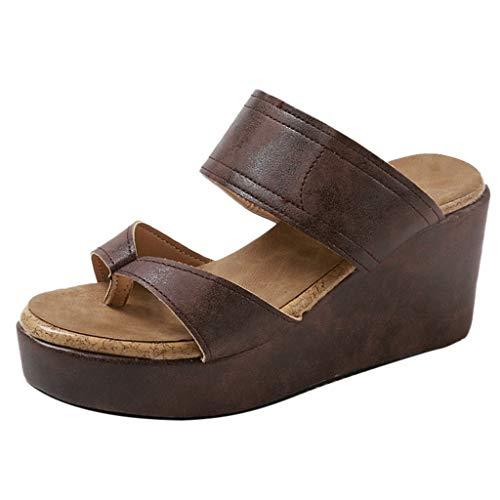 Dasongff Damen Keilsandaletten, Wedge Sandalen Sommer Wasserdichte Plattform Damenschuhe Pantoletten Leichter Sandaletten Freizeit Weich -