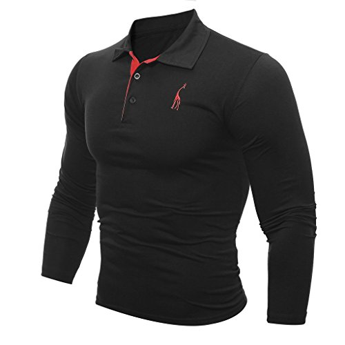 WSLCN Herren Langarm Polo Shirt Slim Fit Schwarz