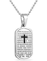 Bling Jewelry Acero Inoxidable Oración Padre Nuestro Dog Tag Cadena Cordón 24 Pulgadas