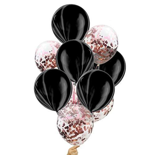 BIGBOBA 10 Piezas de Globo de látex Globo patrón de mármol Globos Transparentes con Paillette para Fiesta de graduación de cumpleaños de la Boda (Schwarz + Rose Gold)