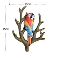FERZA home American Style Creative Home Wall Coat Hook No Trace Wall Hanging Decoration Solid Branch Parrot Key Hook