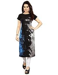 Glance Designs Blue & Black Crepe Straight Cut Kurti_EVC010