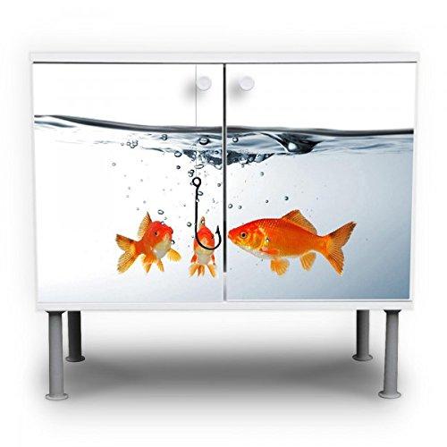 #banjado – Badunterschrank 60x55x35cm Design Waschbeckenunterschrank mit Motiv Fische#
