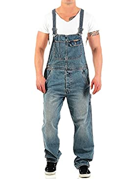 JetLag Herren Latz Jeans Overall lange Hose Loose Fit