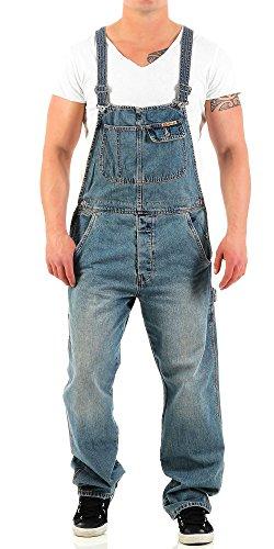 JetLag Herren Latz Jeans Overall lange Hose Loose Fit denim long L