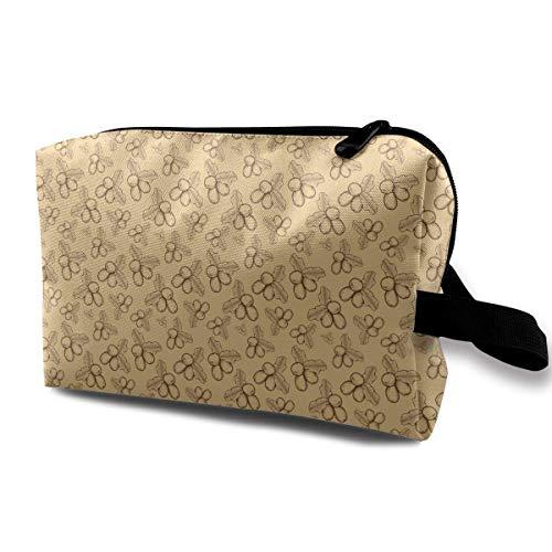 Travel Makeup Cosmetic Bag Brush Pouch Shea Nuts Plant Berry Fruit Zipper Pen Organizer Carry Case travel Makeup Bag -
