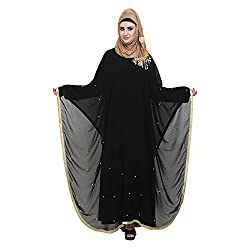 Black Double Layered Kaftaan with Pearl Work (Medium)