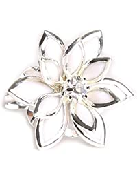 Bold N Elegant Silver Plated White Lotus Multi Layer Flower Adjustable Ring For Women and Girls