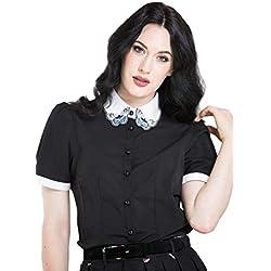Hell Bunny Camisa Blusa Laeticia Mariposa Retro Vintage - Negro (M - ES 40)