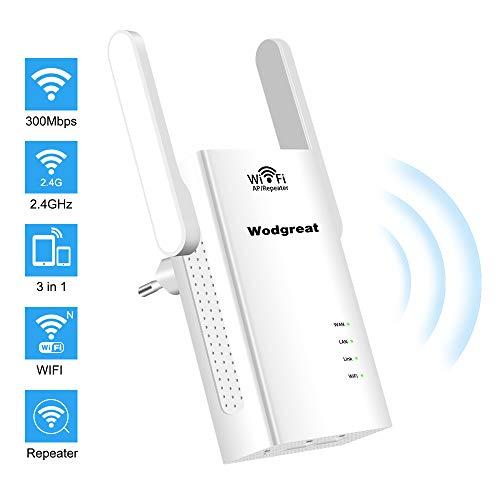 Wodgreat WLAN Verstaerker Range Extender Repeater WiFi Wireless Netzwerk Verstärker Signalverstärker Mini Booster Router (300 Mbit/s,2,4 Ghz,3 in 1,2 Ethernet Ports) Unterstützt Allen WLAN Geräte