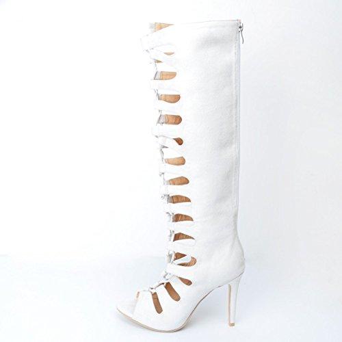 Kolnoo Femmes Handmade Hollow Thigh haut sur le genou haut talon Zipper Fashion Boots Party Shoes white