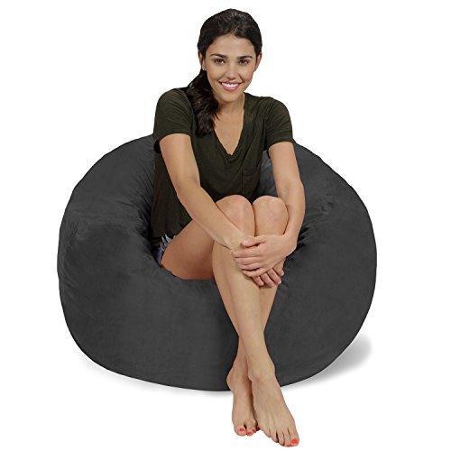 Chill Sack Bohnenbeutelstuhl: 3\' Memory Foam Möbel Sitzsack - großes Sofa mit Weichen Microfaser-Cover - Holzkohle Mikro-Wildleder