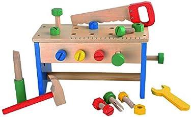 Werkzeugkasten und Werkbank 2 in 1 aus bunt, lackiertem Holz fördert die motorischen Erstversuche kleiner Handwerker, verschiedene Holzwerkzeuge, wie Säge, Schrauben, Muttern, Schraubendreher und Schraubschlüssel, Werkzeugkasten mit praktischem Tragegriff