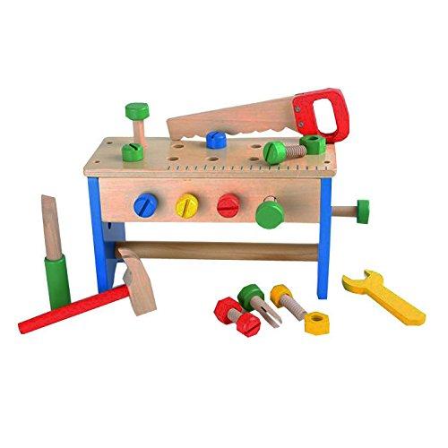 Werkzeugkasten und Werkbank 2 in 1 aus bunt, lackiertem Holz fördert die motorischen Erstversuche...