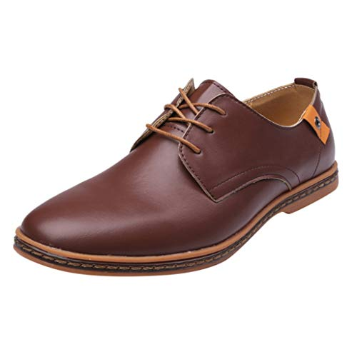 FNKDOR Schuhe Herren Runder Kopf Geschäft Freizeit Lederschuhe Berufsschuhe Weiches Leder Einfarbig Nähgarn Schnürsenkel Low-Top Business-Schuhe Braun 48 EU