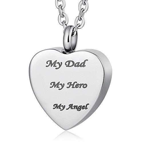 Daesar Edelstahl My Dad My Hero My Angle Gedenk Asche Andenken Herz Urne Kette mit Anhänger Silber Memorial Partnerkette-Gravur Service