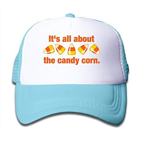 Trushop Boy's Girl's All About The Candy Corn Mesh Baseball Cap Kid's Adjustable Trucker Hat Sky Blue Baseball Kappe -