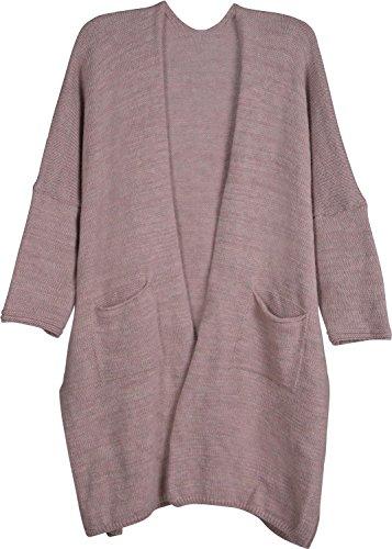 styleBREAKER Oversize Strickjacke mit Aufgesetzten Taschen, Strick Long Cardigan ohne Verschluss,...