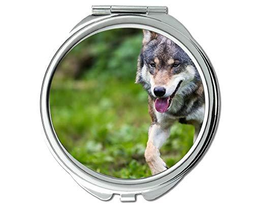 Yanteng Spiegel, Runder Spiegel, Animal Wolf-Kniespiegel, 1 X 2X Vergrößerung