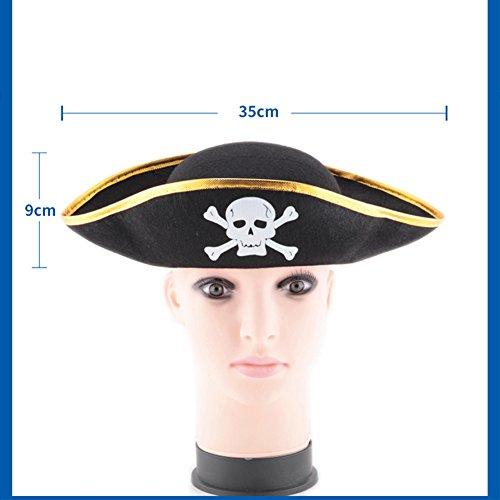 Zantec Schädel Druck Piraten Kapitän Hut, Weihnachten Halloween Maskerade Partei, flacher Art Piraten Hut, der Stützen (Besten Die Mensch Halloween Drei Kostüme)