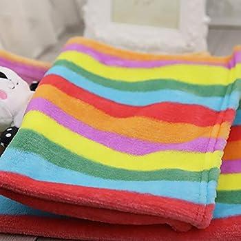 Topdo Tapis Couverture pour Animaux de Compagnie avec Tapis pour Chiens Niche Chat Blanket Automne et Hiver Couverture Chaude Color Rainbow Flanelle 1pièce L-90* 70cm L-90 * 70CM