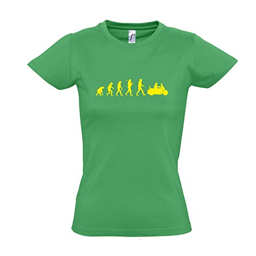 Damen T-Shirt - EVOLUTION - Motorrad Cruiser FUN KULT SHIRT S-XXL Kelly green - gelb