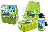 Mein Zwergenland Set 5 Kindergartenrucksack mit Brotdose Maxi, Turnbeutel Baumwolle und Flasche Happy Knirps Next Print mit Name Traktor, 4-teilig, Grün