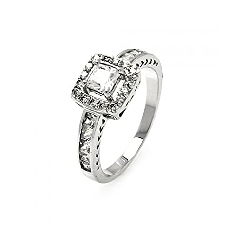 Sterling Silver Rhodium Plated Clear Channel Set Princess Cut Cubic Zirconia Square Ring