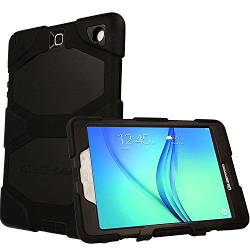 TECHGEAR Schutzhülle für Samsung Galaxy Tab A 9.7 Zoll (SM-T550 Series) - Robuste Heavy Duty Schutzhülle Panzer Überlebenszeit mit abnehmbaren Ständer Schule, Kids, Bauunternehmer Fall - Schwarz (Samsung Tablet Tasche Griffin)