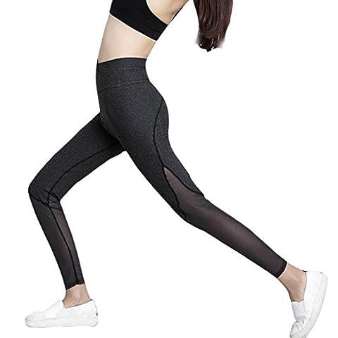 Femmes Leggings,OverDose Taille Haute Yoga Cropped Solide Leggings Patchwork Sports Pantalon (S, Noir)