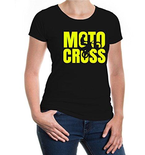 buXsbaum® Girlie T-Shirt Motocross Type Black-Neonyellow